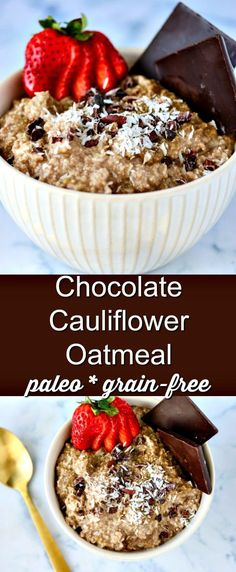 This Chocolate Cauliflower Oatmeal recipe is a unique twist on oatmeal. It's dairy-free and paleo, and a great healthy breakfast. | Keto recipe, low-carb recipe, cauli oats