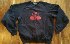 Vintage Polo Ralph Lauren RPL XL black Sweatshirt shirt Men's XL cotton acrylic #PoloRalphLauren #SweatshirtCrew