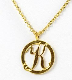 Small Gold Round Initial K Necklace by TashaHussey on Etsy, $38.00