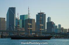A tall ship enters Biscayne Bay in #Miami , #Florida #photos #travel #tourism