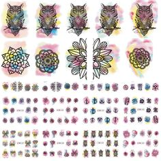 0.81$  Buy here - 12 Designs OwlFlower Watercolor Nail Stickers Beauty Nail Art Temporarily Watermark Nail Tips Decals DIY LABN433-444   #magazineonlinewebsite
