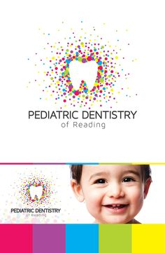 Design by gerizak for a pediatric dentistry clinic. Colorful particles form a tooth in negative space. Click the link for 38 dental logos that will make you smile. #dentistry #branding #design