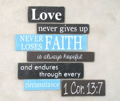 1 Cor 13:7 Love Faith Hope Wood Primitive Sign Gallery Wooden Sign Set on Etsy, $60.00