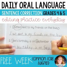 This FREE English Language Arts, Grammar, Writing 4th, 5th Activities, Printables, Literacy Center Ideas Common Core Standards L.4.1g, L.4.2a, L.4.2d, L.5.1d, L.5.1e…an introduction to Daily Oral Language for the 4th and 5th grade classroom. Inside you will find one free week of DOL for 4th and 5th grades. Each day has 3 sentences to correct, and the booklets are a half-page in size. 4th Grade Ela, 5th Grade Classroom, 4th Grade Reading, Fifth Grade, Grade 3, Classroom Ideas, Daily Oral Language 4th Grade, English Grammar Notes, A Beka