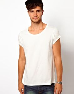 Image 1 ofASOS T-Shirt With Scoop Neck And Roll Sleeve