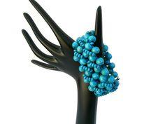 Bracelet Wooden Beads Stretch Deep Turquoise Light Weight