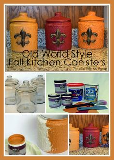 I'm so excited to be a part of the latest Blogger Challenge! This season's challenge used glass apothecary jars and I chose an Old World Fall Kitchen Canister set for my project. Visit the blog for the tutorial and to get links to 6 more great projects!