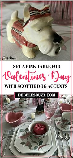 Sweet Scottie dog and pink Valentines Day table and bar set with vintage pink stemware, heart-shaped ramekins, and rose fold napkins. Valentines Day Party, Valentines Day Decorations, Valentine Day Crafts, Be My Valentine, Jasmine Pearl Tea, Chocolate Rabbit, Valentine's Cards For Kids, Everyday Dishes, Pink Table