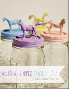 Animal Topped Mason Jars