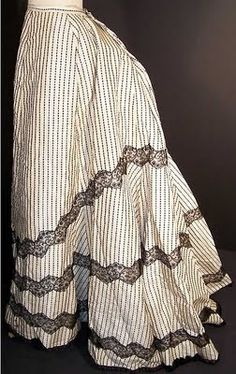1880's bustle skirt | black & white striped chantilly lace bustle skirt dates from the 1880s ...