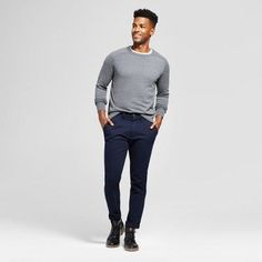 Men's Athletic Fit Hennepin Chino Pants - Goodfellow & Co Navy (Blue) Preppy, Navy Blue, Normcore, Athletic, Fitness, Target, Fall Winter, Pants, Men