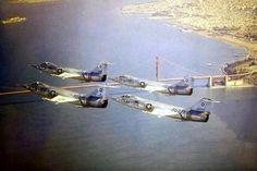 4 F-104 Starfighters over the Golden Gate Bridge