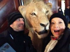 """Jonny Lee Miller & Lucy Liu goofing around with a very special """"Elementary"""" guest star."""