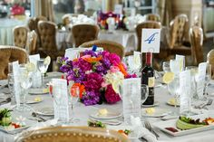 Multicolored floral centerpiece at The Surf Club in New Rochelle