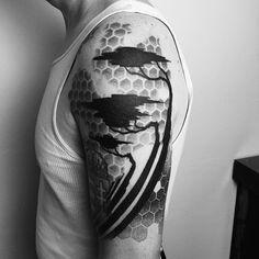 In progress #cypress #tree #geometric #hexagon #dotwork #blackwork #tattoo #blackworksf #scholartattoo_sf #mattmatiktattoo                                                                                                                                                     More