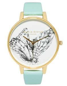 Olivia Burton Turquoise Leather Watch With Butterfly Print Face