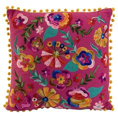 Embroidered cotton pillow with pom-pom trim.  Product: PillowConstruction Material: Cotton and poly fillC...