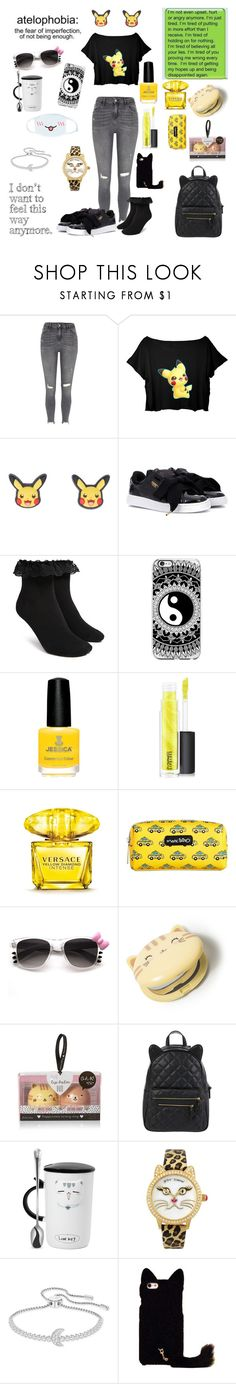 """""""You'll miss that bubbly girl when it's to late"""" by rainythedarklord ❤ liked on Polyvore featuring River Island, Nintendo, Puma, Forever 21, MAC Cosmetics, Versace, Marc Tetro, Hello Kitty, Accessorize and cutekawaii"""