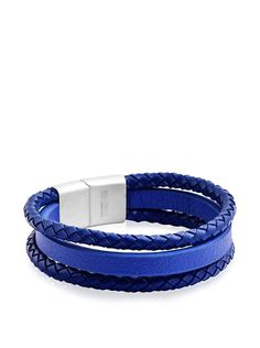 Edforce Steel Genuine Leather 3 Row Simple Wrap Around Bracelet at MYHABIT