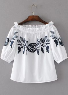 Off Shoulder Embroidered Blouse|Disheefashion