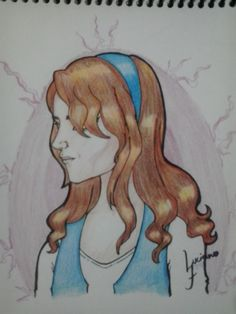 Inspirado na atriz Emma Stone, pintura a lápis de cor. Inspired by the actress Emma Stone, painting in color pencil.