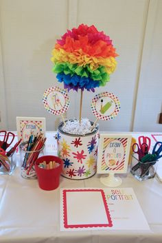 Love these colorful decorations at an Art party!  See more party ideas at CatchMyParty.com!