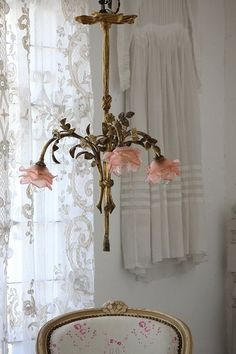 Antique, French, shabby chic chandelier of beautiful Roses, combining artistic, romance beauty!