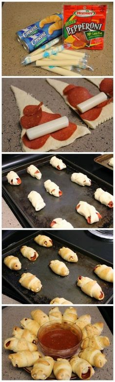 Croissants, pepperoni, cheese sticks, and voila! Quick, easy munchies or dinner with salad and dessert.