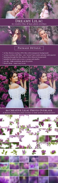 60 different lilac photo overlays, flowers and haze, great for summer pictures. Style amazing scenes in just few second. Drag & drop - very easy to use.
