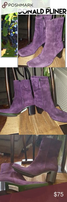 NWOB Donald Pliner gorgeous grape boots 7 New without box in a beautiful soft suede made by David an d Lisa for Donald Pliner. Consignment piece.. 2.5 in heel the gusseted side gives a little extra around the ankle so it measures 10 inches and we'll go a little more. Reasonable offers always welcome. Donald J. Pliner Shoes Heeled Boots