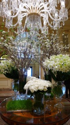 The Plaza Hotel, New York City Reminds me of the hotel lobby flowers in China hotels .