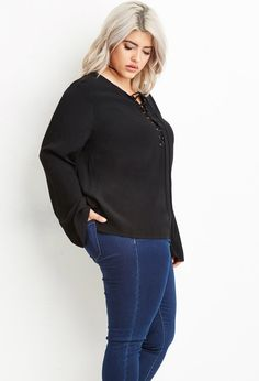 Plus Size Lace-Up Textured Top