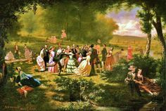 A few paintings of picnics in century America. Jerome Thompson (American artist, Recreation Jerome Thompson (A. Martin Johnson Heade, Indoor Picnic, Thomas Moran, Victorian Paintings, Albert Bierstadt, Summer Picnic, People Art, American Civil War, American Artists