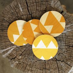 Yellow Triangle Birch Coasters from Haus Interior