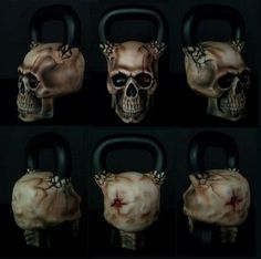"""For those not in the know, Ironskull Fitness is a company that sells custom skull-inspired kettlebells, 100% made in the USA. Their latest addition to their product line is the 62 lb Skullbell. Unlike the other kettlebells available from Ironskull, the Skullbell is completely modeled after an actual human skull, giving it an irregular shape which makes it more appropriate for 2-handed swings than for cleans and snatches. The Skullbell also features a """"Gunshot entry wound."""