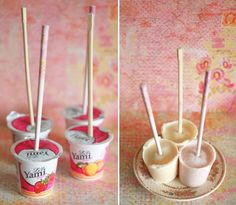 So, it's getting hot out, and you are craving something cold, but ice cream and popsicles aren't exactly a mid-day snack. You know what is, though? Yogurt! Here's a simple, easy way to make frozen yogurt pops with almost no work whatsoever. Pop a stick in individual-sized yogurt cups, freeze, and ta-da!