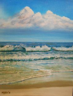 Waves On the Beach Original painting oils 11 X 14 inches South Florida, Waves On The Beach, Original Paintings For Sale, Beautiful Day, Nashville, Oil On Canvas, Etsy Shop, The Originals