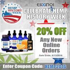 Celebrate #HempHistory Week - 20% OFF #CBD Products // Enter Coupon Code: hemp2016 // Sale Ends: 6/13/2016 https://elixinol.com