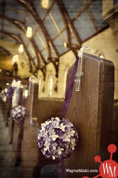 Church details from my autumn wedding. I made these off the Martha Stewart idea. They turned out lovely & everyone kept asking me how much I paid for them. Wedding 2017, Purple Wedding, Wedding Ceremony, Our Wedding, Wedding Flowers, Dream Wedding, Pew Decorations, Church Wedding Decorations, Church Aisle
