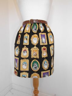 Handmade high waisted skirt made with cat kitten picture frame fabric black