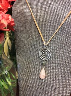 4ba32b244 Hammered Silver Spiral Necklace with Rose Quartz Teardrop by  HandandhookStudio on Etsy Hammered Silver, Leather