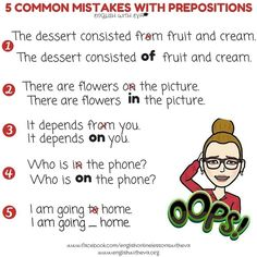 Learn English, English Grammar, Common Mistakes, Prepositions, English with Eva