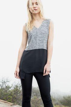 TM 3604 Contrast skirt sleeveless top in black