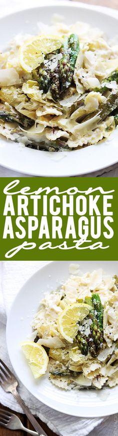 Lemon Artichoke Asparagus Pasta | Creme de la Crumb