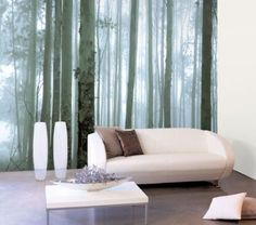 Forest wallpaper for one wall of ensuite bathroom? Fancy - Mysterious Forest Wallpaper by Nono