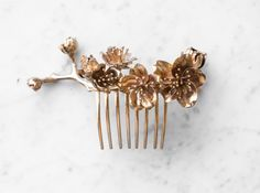 3D printed Cherry Blossom Comb, polished in Bronze