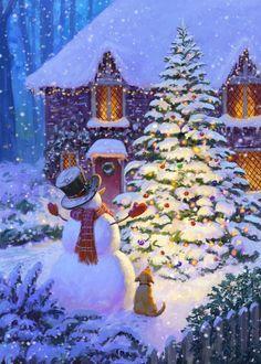 Christmas Scenery, Noel Christmas, Vintage Christmas Cards, Christmas Pictures, Christmas And New Year, Winter Christmas, Unicornios Wallpaper, Christmas Paintings, Christmas Illustration