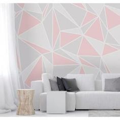 Pink, grey, and white triangles waltz across this Radian Wall Mural. Its color palette and geometric shapes come together to create a delightful, modern pattern. Pink Radian Wall Mural comes on Pink Accent Walls, Accent Wall Bedroom, Bedroom Wall Designs, Home Decor Bedroom, Bedroom Modern, Geometric Wall Paint, Geometric Shapes, Room Wall Painting, Couple Room