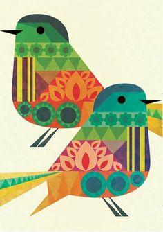Birds by Crayonfire. illustration-and-graphic-design Stoff Design, Motifs Animal, Bird Illustration, Pattern Illustration, Arte Popular, Bird Prints, Bird Art, Bird Feathers, Art Lessons