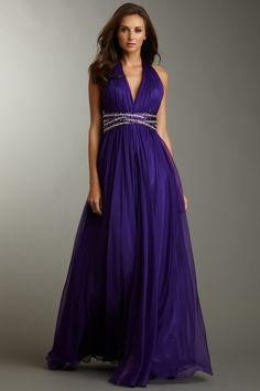 La Femme   V-neck dress with halter neck straps and pleated beaded bust